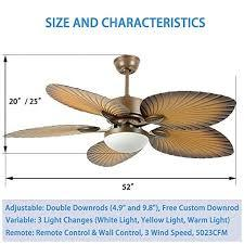 Outfitted with aesthetically appealing parts, emerson ceiling fan with led light is our recommendation for people looking for a flush mount ceiling fans. Andersonlight 52 Inches Tropical Ceiling Fan Remote Indoor Outdoor Fan Light 5 Abs Palm Blades And Light Kit For Living Room Bedroom Dining Room Fan Chandelier Beachfront Decor