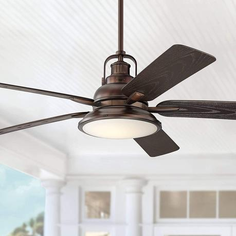 60 Wind And Sea Industrial Outdoor Ceiling Fan With Light Led Remote Control Dimmable Oil Brushed Bronze Brown Wet Rated For Patio Exterior House Porch Gazebo Garage Barn Casa Vieja