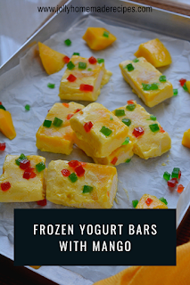 Frozen Mango Yogurt Bars-Healthy Yogurt Bars-Frozen Yogurt Barks with Mango