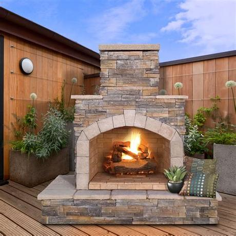 Homeadvisor's outdoor fireplace cost guide provides average prices for stone, stone, gas, or wood burning fireplaces with a chimney or backyard pizza oven. CalFlame Natural Stone Propane / Gas Outdoor Fireplace ...