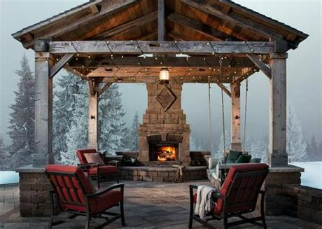 Take the party outside with this beautiful stone fireplace kit. Outdoor Fireplace Design Ideas