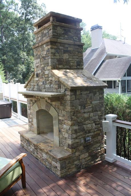 Outdoor Stacked Stone Fireplace with Hearth   Outdoor ...