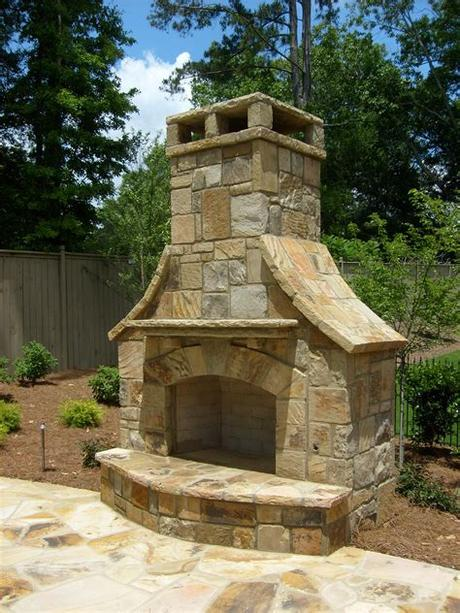 36 outdoor fireplace kit (overall total height is 8 feet or customize to be taller or wider. Outdoor Stack Stone Fireplace with flagstone decking ...