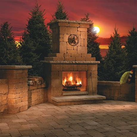 Take the party outside with this beautiful stone fireplace kit. Out Door Fireplace Kits   # Home Improvement