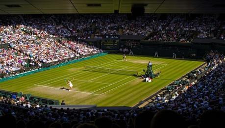 tennis player on grass tennis court