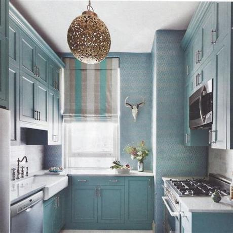 We've rounded up some inspiration to get your creativity flowing. blue kitchen wallpaper 2017 - Grasscloth Wallpaper
