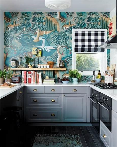 Kitchen wallpapers need not always be colorful affairs [design: Unique Decor Ideas: Functional Kitchen Wallpaper Ideas ...