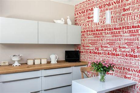 Sign up to our newsletter newsletter. Kitchen wallpaper red look