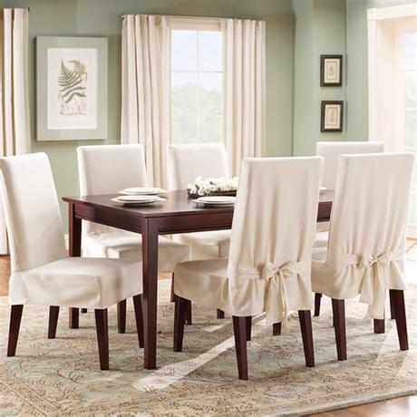 Spilled soup, runaway cherry tomatoes, and oh, so many crumbs. Sure Fit Cotton Duck Dining Room Chair Cover - Walmart.com ...