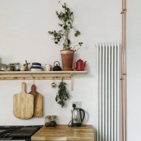 vertical column radiator in a kitchen