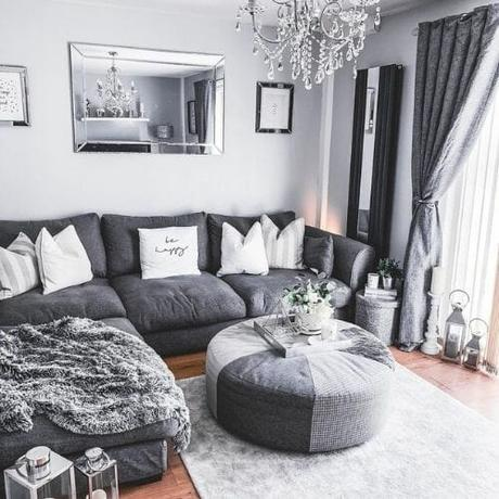 vertical mirrored radiator in a gray living room