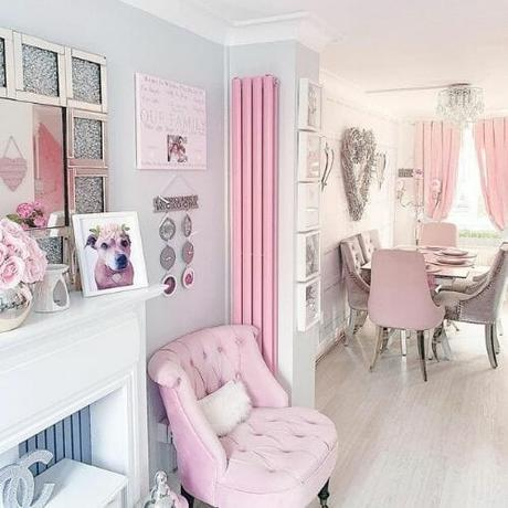 pink vertical radiator in a pink living room