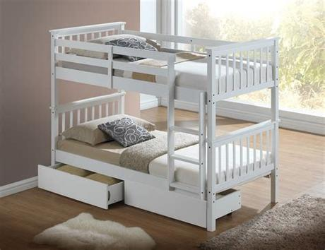 Which brand has the largest assortment of bunk beds at the home depot? Modern White Childrens Bunk Bed With Drawers