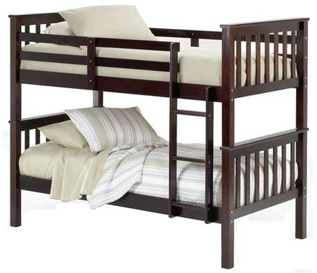 There must be space between the mattress' top and the guard rail. Bernards Sadler Merlot Finish Twin Bunk Bed | Royal ...