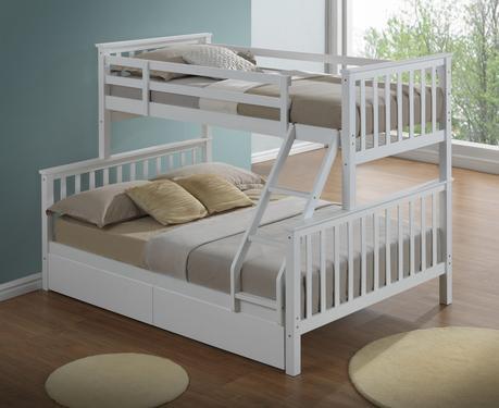 Modern 3 Sleeper White Childrens Bunk Bed - Inc Drawers