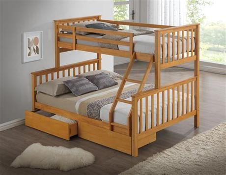 Bunk beds are a natural choice for limited space, cozy sleepovers and just generally for kids sharing a bedroom. Beech triple wooden bunk bed - Childrens, kids