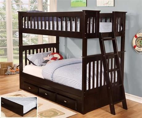 In the past, bunk beds could only hold twin mattresses. Discovery World Furniture Twin over Twin Espresso Bunk ...