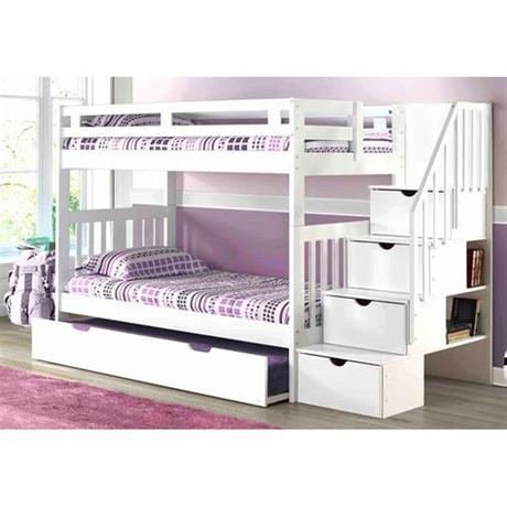There must be space between the mattress' top and the guard rail. Staircase Bunk Bed White | Mattress Superstore