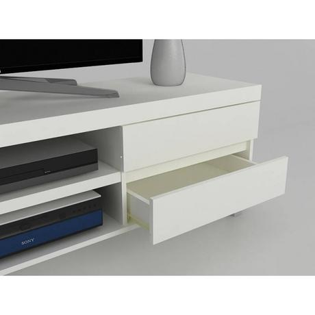 Vera Affordable TV Stand in White & Alu Legs | MrHousey.co.uk