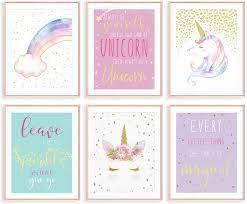Diy unicorn room decorating ideas! Amazon Com Unicorn Wall Decor Girls Room Decor Kids Room Decor For Girls Unicorn Wall Art Unicorn Room Decor For Girls Bedroom Nursery Decor Set Of 6 8x10in Unframed Everything Else