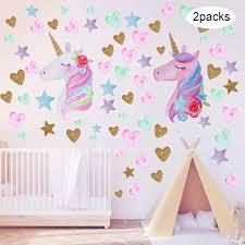 Playful imaginations need playful spaces. 2 Pieces Large Size Unicorn Wall Decal Unicorn Decor Unicorn Wall Stickers Colorful With Heart Flower For Kids Bedroom Nursery Room Living Room Decor Color Set 2 Buy Online In Dominica At