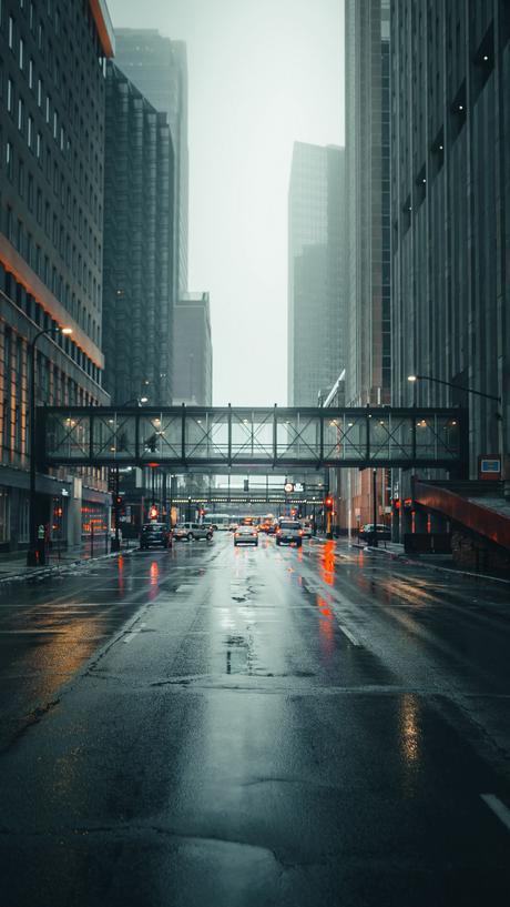 Download wallpaper 1080x1920 city, street, fog, movement ...