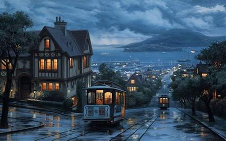 Looking for the best wallpapers? Landscape An evening journey street city painting eveni ...