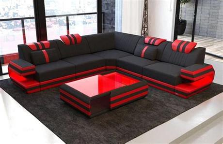 Now starting at $474.60 $791.00. Modern Sectional Fabric Sofa San Antonio L Shape with LED ...