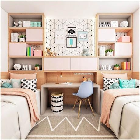 A modern kids room for girls. Tips To Add Built Ins To A Kids Room