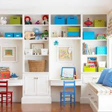 Notice the shiplap detail how it wraps into the open shelving. Smart Storage In Dazzling Displays Bookshelves Built In Home Playroom Organization