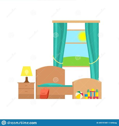 Clean Kids Bedroom Flat Vector Illustration Stock Vector Illustration Of Bedroom Vector 205191681