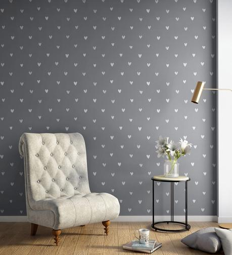 Buy White Grey Happy Hearts Wallpaper Nilaya Wall Coverings By Asian Paints Online Pattern Textures Wallpapers Furnishings Home Decor Pepperfry Product