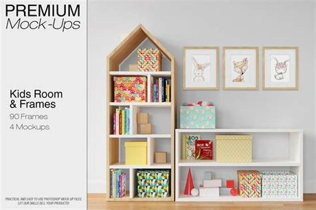 Then comes the metallic frame that gives a contemporary look to your photo or art. Kids Room - Wall & 90 Frames ~ Print Mockups ~ Creative Market