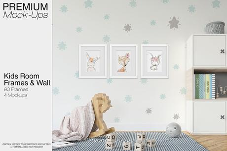 Kids Room - Wall And 90 Customizable Frames Set - Design Cuts