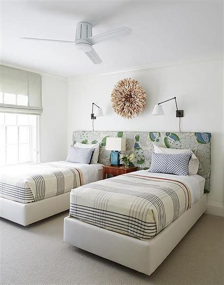 Halfway between a bunk bed and a twin bed, the midsleeper bed is raised just enough to store a desk and cupboard area underneath, providing an. Two Twin Beds on Shared Headboard - Contemporary - Boy's Room
