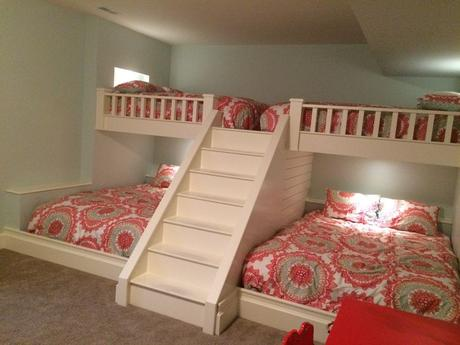 Custom made bunk beds. Queen beds on top and bottom ...