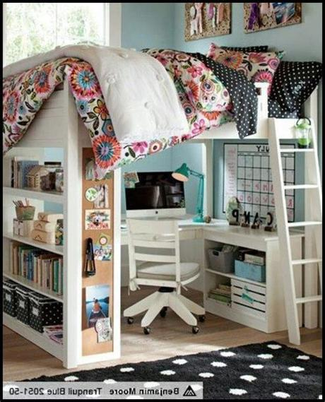 Your kids will be happier to go to bed at night when they can go to a room they helped decorate and snuggle into a bed with. Bedroom:Full Size Loft Bed With Desk Also Shelves With ...