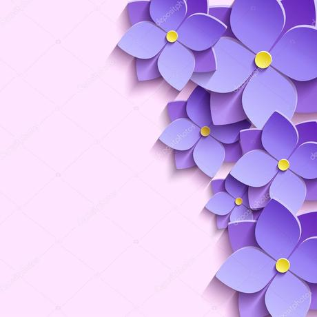 Festive Background With 3d Flowers Violets Vector Image By C Silvionka Vector Stock 72792713