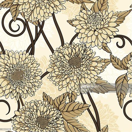 Hand Drawn Floral Wallpaper With Set Of Different Flowers High Res Vector Graphic Getty Images