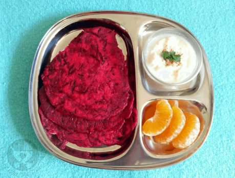 Give your picky eater an interesting twist on boring parathas with this super healthy and colorful beetroot paratha recipe!