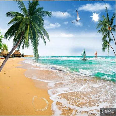 Beach Wallpapers Background Coconut Palm Tree Tv Background Wall Beautiful Scenery Wallpapers 3d Wallpaper Wallpapers Aliexpress
