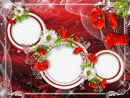Free 3d flower models available for download. Flower Frame Red Poppies With All My Heart Love Free Flower Photo Frame Psd Free Flower Photo Frame Png Free Download