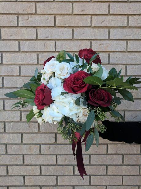 Maroon and white bridal bouquet   Gold wedding flowers ...