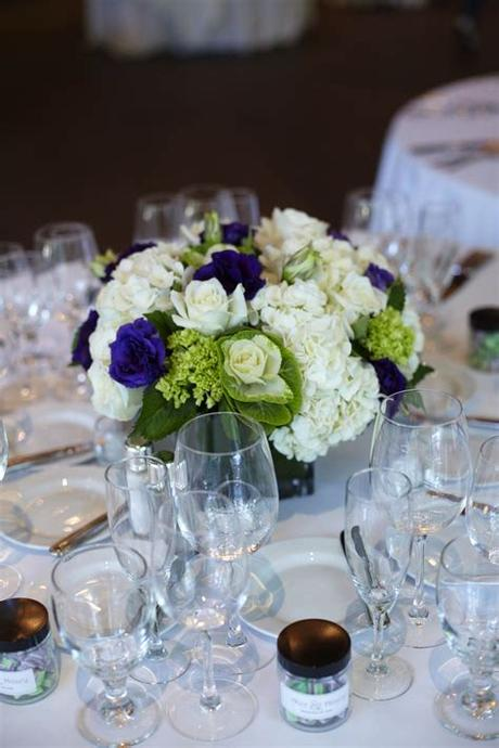 White small roses and violet purple flowers floral composition bouquet. White, Purple, and Green Low Centerpieces   Weddingbee ...