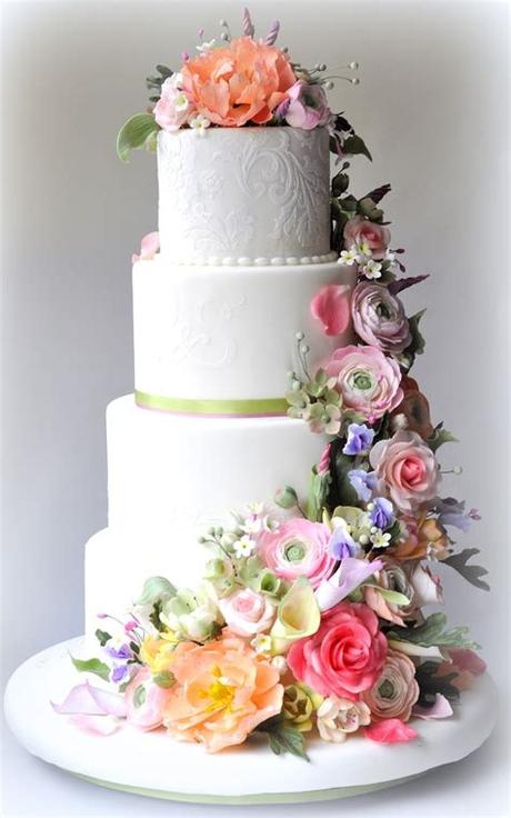 Download 2,358 white wedding flowers free vectors. Classic White Wedding Cake with Pastel Flowers   OneWed.com