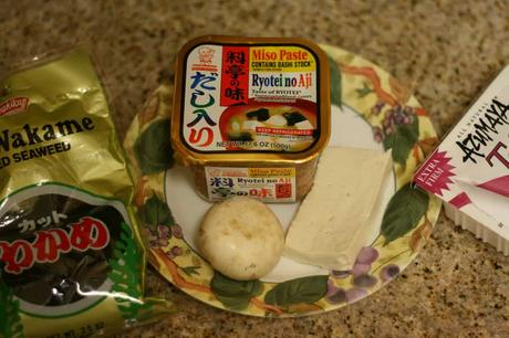 soup ingredients: wakami, miso paste, and tofu