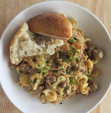 Pasta with a Creamy Mustard and Sausage Sauce