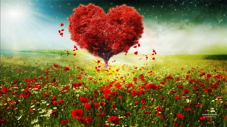 Valentines Day Love Heart Tree Landscape HD Wallpapers ...