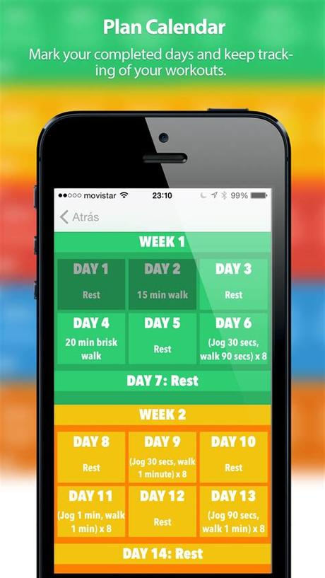 The app is the same as the website, except that you can use it without an internet connection. 5K-10K Training - App iOS | Dani Sevilla