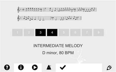 Section a has twenty rhythmic lessons and twenty melodic lessons. Albini's Apps meloDicts ear training app for Android & iOS